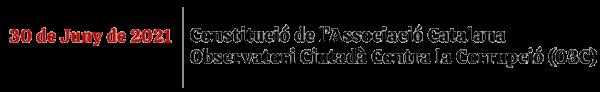 Constitució Associació Catalana Observatori Ciutadà Contra la Corrupció